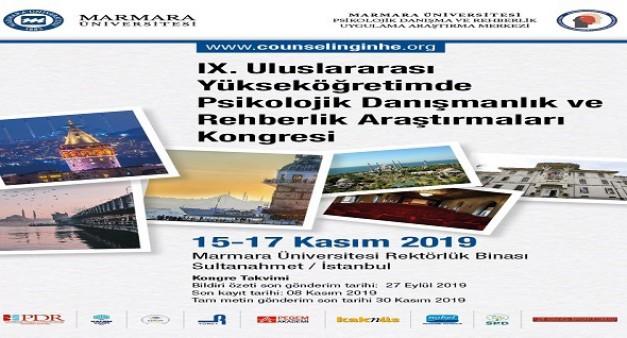IX.Uluslararası Yüksek Öğretimde Psikolojik Danışmanlık ve Rehberlik Araştırmaları Kongresi, 15-17 Kasım 2019, İSTANBUL